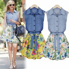COWGIRL STYLE DRESS Sleeveless Denim & Floral Chiffon Belted Western Dress