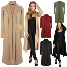 Womens Ladies Full Sleeve Floaty Front Open Cardigan Maxi Long ...