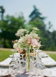 style me pretty - real wedding - usa - california - orange county garden wedding - reception decor - table decor - centerpiece - peonies & baby's breath