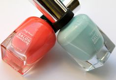 Sally Hansen Complete Salon Manicure in Barracuda (right) and Coral Fever (left)