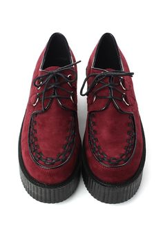 Creeper Platforms Shoes in Wine Red