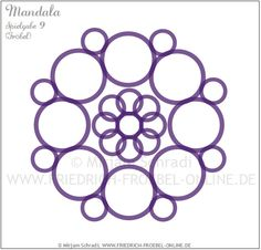 Mandala aus den Ringen der Spielgabe 9 nach Friedrich Froebel (lila Ringe-Mandala Nr. 7 von insg. 16 Mandalas) Froebel: Forms of Beauty (Schönheitsformen)