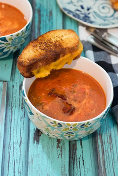 Roasted Red Pepper, Tomato and Bacon Soup from The Girl In The Little Red Kitchen