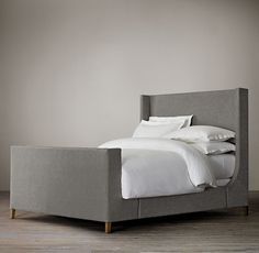 Grayson Fabric Sleigh Bed With Footboard from Restoration Hardware