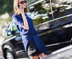Get the latest and greatest celebrity style, runway trends, and shopping suggestions from the fashion and beauty experts at WhoWhatWear! Black And Navy, Navy Blue, Sweater Layering, Spring Looks, The Girl Who, Fashion Photo, Style Fashion, Who What Wear, Wearing Black