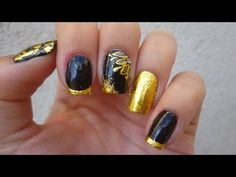 Nail Art with Gold Foil + Glue foil by LadyQueen.com