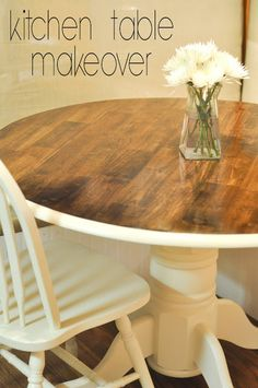 Decorating Through Dental School: DIY Tutorials   Kitchen Table Redo    Wooden Table Makeover   Decorate On A Budget But In Mint, Not White