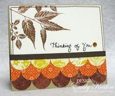 lhandmade card from My Little Slice of Bliss .... Fall colors ... Thanksgiving sentiment ... luv the layers of circles from patterned papers ... stiched edge ... like this card!