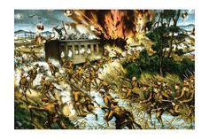 'Japanese Attack Russian Communist Forces at A Train Along The Amur River' Print (Black Framed Poster Print 20x30)