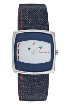 A large square shaped case with a thin silver metal encloses a printed Denim blue and White dial while a dark Denim blue strap with contrast Red stitch adds to the sporty look. Denim from Fastrack     http://www.fastrack.in/product/n6013sl03/?filter=yes=2=995=2295=4&_=1339957488152#