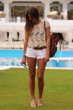 khaki lace & white summer wear