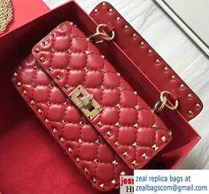 Valentino Rhombus Rockstud Spike Small Chain Shoulder Bag Red 2017