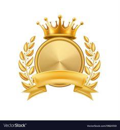 Gold crown laurel wreath winner frame isolated vector image on VectorStock Crown Illustration, Royal Logo, Crown Drawing, 3d Cnc, Crown Logo, Certificate Design, Banner, Laurel Wreath, Gold Background