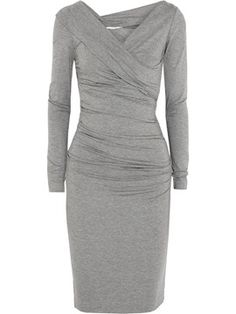 Ericdress Plain Pleated V-Neck Long Sleeve Sheath Dress