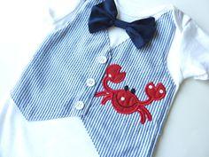 Mr. Crab Navy Blue Seersucker Tuxedo Vest Onesie with Matching Removable Bow Tie. $30.00, via Etsy.