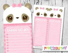 Printable Pink Panda To Do List Instant Download by Print4Yourself