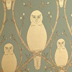 Briar Owl wallpaper – Gold by Abigail Edwards