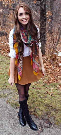 Fall Outfit of the day! White button down, colourful scarf, cord skirt and black quilted boots. - Jackie Wyers