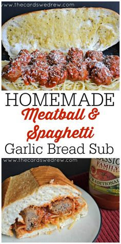 Homemade Meatball recipe with Spaghetti on a Garlic Bread Sub bun...it's amazing...A+ from my husband and son! #FamilyFavorites #shop