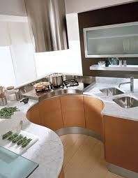 Don't have a lot of space to work with in your apartment! This modern kitchen is perfect then! It is a unique shape with its wrap around style. I love that vibe!