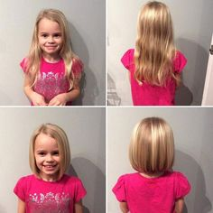 Now take a look at the lovely transformation of this little girl shown below with four different pictures. This impressive appearance of the girl will definitely make you force to opt. this fabulous haircut with the bang for your little girl at home. Toddler Haircuts, Girls Short Haircuts, Cute Haircuts, Hairstyles Haircuts, Trendy Hairstyles, Toddler Haircut Girl, Glamorous Hairstyles, Bob Haircuts For Kids, Hairdos