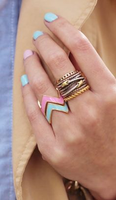Pastel chevron rings
