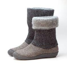 Felt boots natural gray black  felted winter wool door WoolenClogs