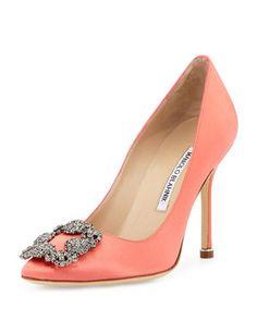 MANOLO BLAHNIK Hangisi 105Mm Satin Pump, Coral. #manoloblahnik #shoes #