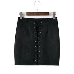 BONGOR LUSS Brand Women Skirt 90`s Vintage High Waist Tight Suede Lace Up Skirt Spring Autumn Pencil Skirt Preppy Mini Skirt