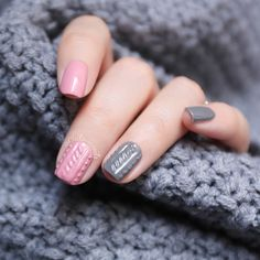 #CiciLovesNails 3D sweater nails with China Glaze Recycle and China Glaze Pink-Ie Promise #sweaternails
