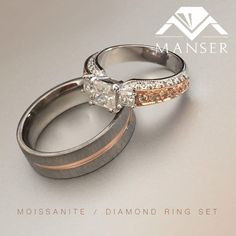 Ladies ring: white and rose gold ring with princess cut diamonds. Gents ring: titanium ring with rose gold inner. His And Hers Rings, Gents Ring, Titanium Rings, Princess Cut Diamonds, Wedding Bands, Gold Rings, Rose Gold, Engagement Rings, Jewels