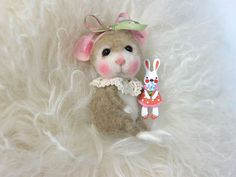"""ADOPT A Baby Bunny Needle Felted Bunny """"June Bug"""" TINY Wool & Angora Bunny By Barby Anderson"""