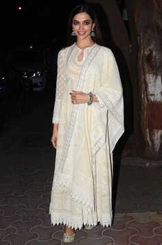 Deepika Padukone in a charming Lucknow Chikankari Kameez.