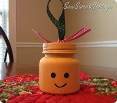 Lego Man DIY ornament from a baby food jar