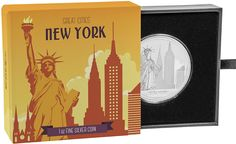 The Great Cities coin collection will feature significant cities from around the world. Each fine silver coin will have stunning contemporary-style design., Great Cities - New York 1 oz Silver Coin Coin Collecting, 1 Oz, Silver Coins, New Zealand, New York, City, Collection, Silver Quarters