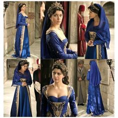 Kosem Sultan in blue Medieval Fashion, Medieval Dress, Period Costumes, Movie Costumes, Kosem Sultan, European Dress, Actrices Hollywood, Turkish Fashion, Fantasy Dress
