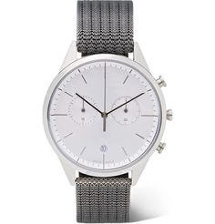 Uniform Wares Betatype Stainless Steel And Titanium Chronograph Watch In Silver Uniform Wares, 316l Stainless Steel, Metal Bracelets, Fashion Watches, Chronograph, Watches For Men, Quartz, Jewels, Crystals
