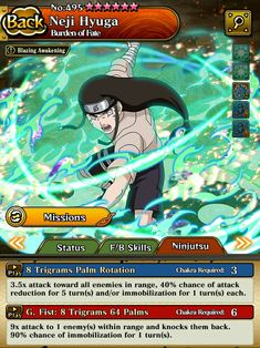 Neji Hyuga Best Games, Naruto Shippuden, Awakening, Ninja, Cards, Ninjas, Maps, Playing Cards