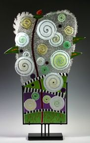 Fused glass sculpture,  Charlotte Arvelle, Dream.  Carlyn Gallery