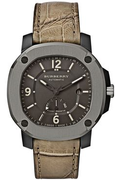 @Burberry Britain Power Reserve Automatic, with matte gunmetal dial.