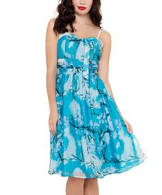 Loving this Blue & White Floral Fit & Flare Dress on #zulily! #zulilyfinds