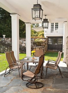 This patio set from the Telescope Cape May Sling Collection is ultra-slim, lightweight, and designed for comfort and support.