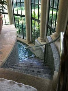 22 Amazing Indoor Pool Inspirations For Your Home... Spiral stairs??? LUV