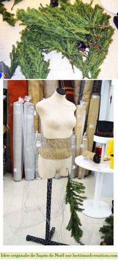 """Bettinael.Passion.Couture.Made in france: Idée originale : Comment faire son """"Arbre de Noël"""" avec son buste de couture"""