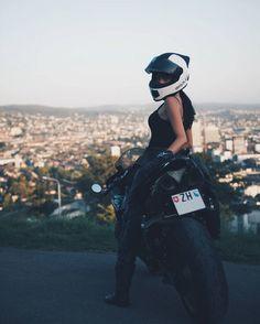 Biker Girl With Skully Motorcycle Helmet on