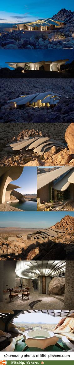 The Joshua Tree Desert House...not a fan of modern architecture, but this unique how they made it fit into the surrounding environment.