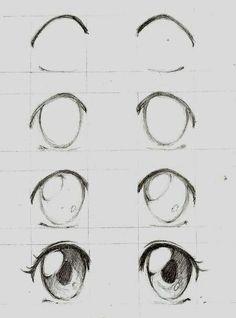 Learn To Draw Manga - Drawing On Demand - Anime / manga eyes step by step – # animemanga - Anime Drawings Sketches, Pencil Art Drawings, Anime Sketch, Drawing Faces, Cute Drawings, Art Sketches, Anime Eyes Drawing, Drawings Of Eyes, Easy Manga Drawings