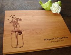 Rustic Mason Jar Custom Cutting Board Wedding Present Bridal Shower Gift…