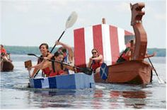 Fundraising: A cardboard boat race fundraiser can be a fun, entertaining and profitable fundraiser. Diy Cardboard, School Fundraisers, Set Sail, Big Dogs, Rafting, Canoe, Fundraising, Kayaking, Kayaks