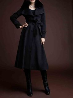 black wool women coat long winter coat